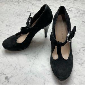 Franco Sarto Black Suede Leather Buckle Heels 7